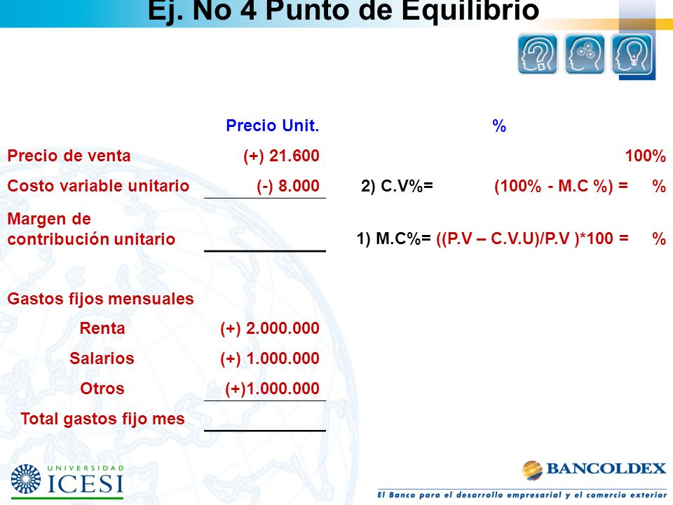 Precio Unit.% Precio de venta(+) 21.600100% Costo variable unitario(-) 8.0002) C.V%= (100% - M.C %) = % Margen de contribución unitario1) M.C%= ((P.V
