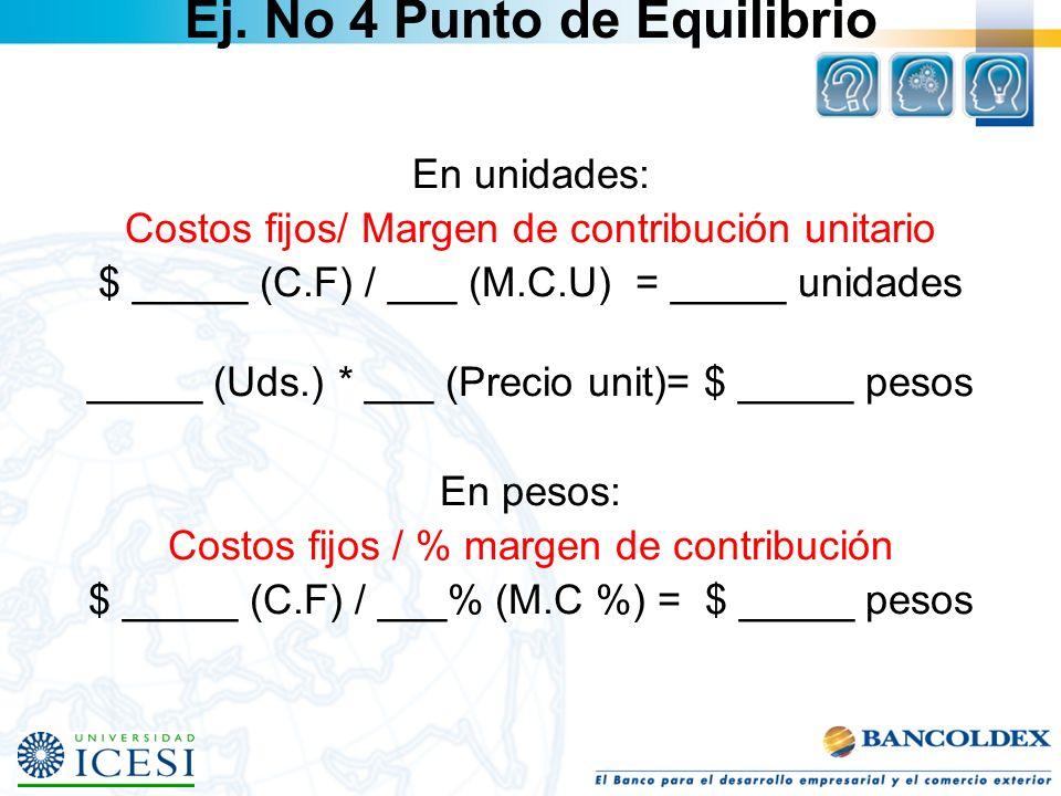 En unidades: Costos fijos/ Margen de contribución unitario $ _____ (C.F) / ___ (M.C.U) = _____ unidades _____ (Uds.) * ___ (Precio unit)= $ _____ peso