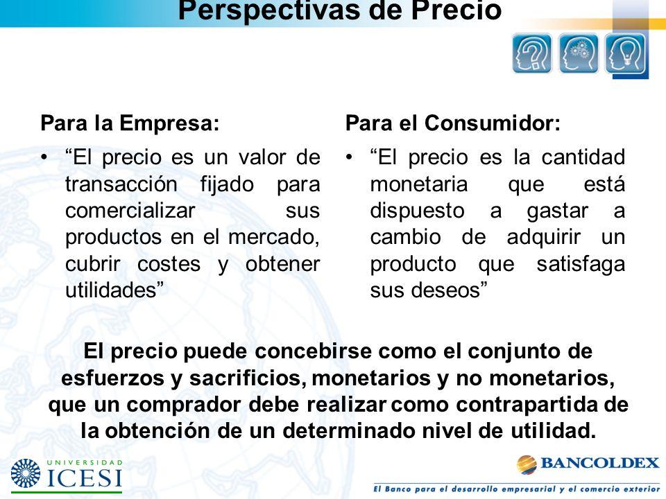 Perspectivas de Precio Para la Empresa: El precio es un valor de transacción fijado para comercializar sus productos en el mercado, cubrir costes y ob