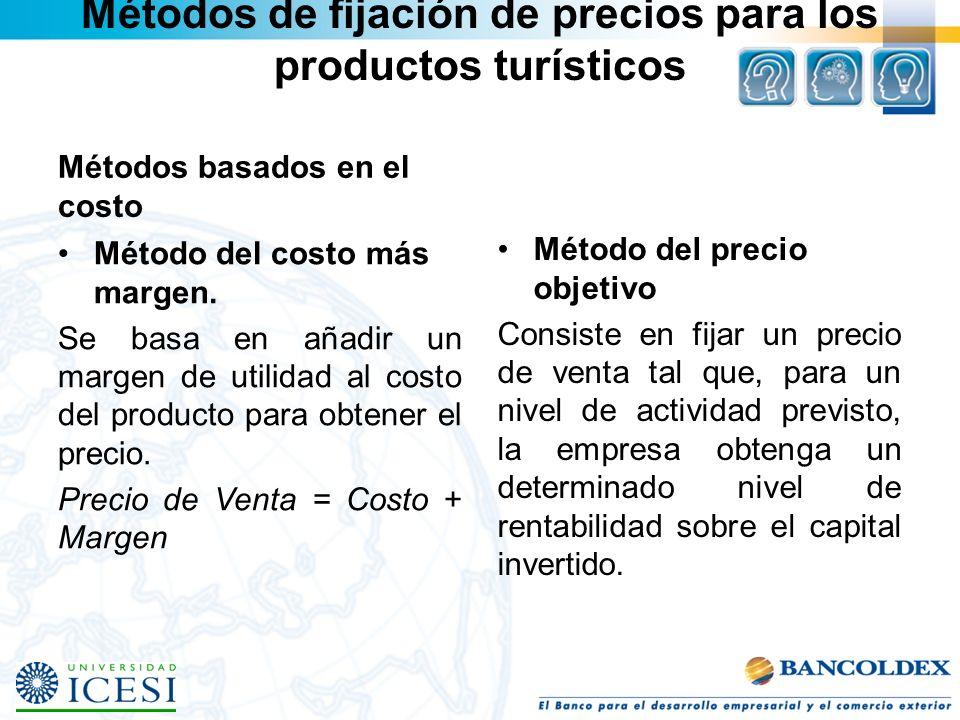 Métodos de fijación de precios para los productos turísticos Métodos basados en el costo Método del costo más margen. Se basa en añadir un margen de u