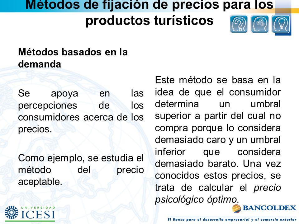 Métodos de fijación de precios para los productos turísticos Métodos basados en la demanda Se apoya en las percepciones de los consumidores acerca de