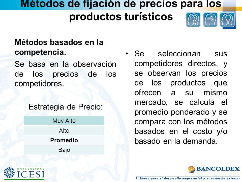 Métodos de fijación de precios para los productos turísticos Métodos basados en la competencia. Se basa en la observación de los precios de los compet