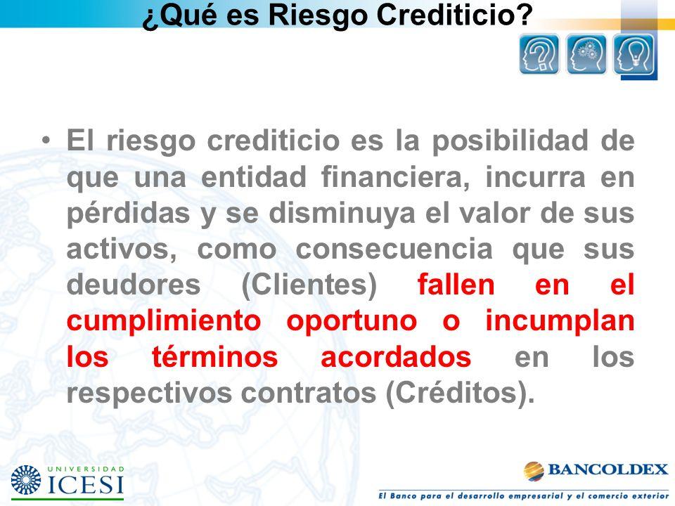¿Qué es Riesgo Crediticio? El riesgo crediticio es la posibilidad de que una entidad financiera, incurra en pérdidas y se disminuya el valor de sus ac