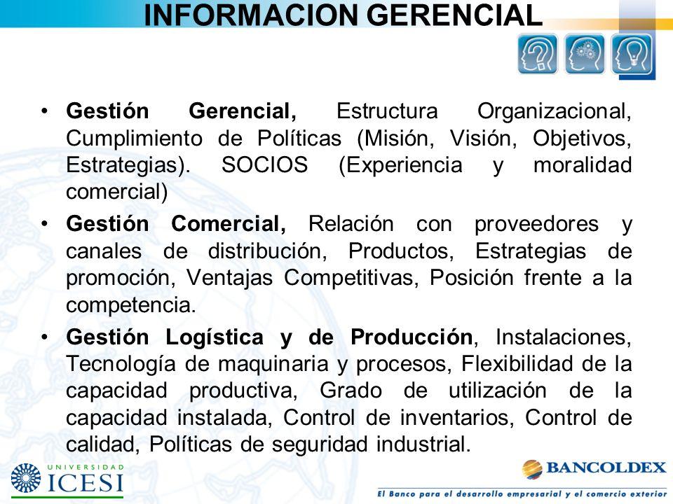 INFORMACION GERENCIAL Gestión Gerencial, Estructura Organizacional, Cumplimiento de Políticas (Misión, Visión, Objetivos, Estrategias). SOCIOS (Experi