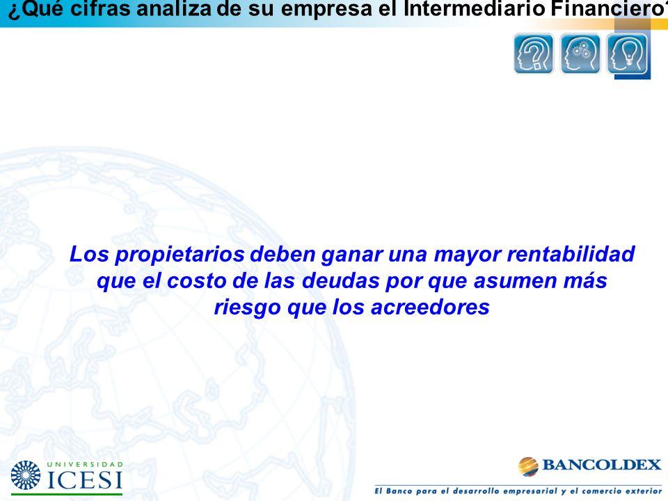 ¿Qué cifras analiza de su empresa el Intermediario Financiero? Los propietarios deben ganar una mayor rentabilidad que el costo de las deudas por que