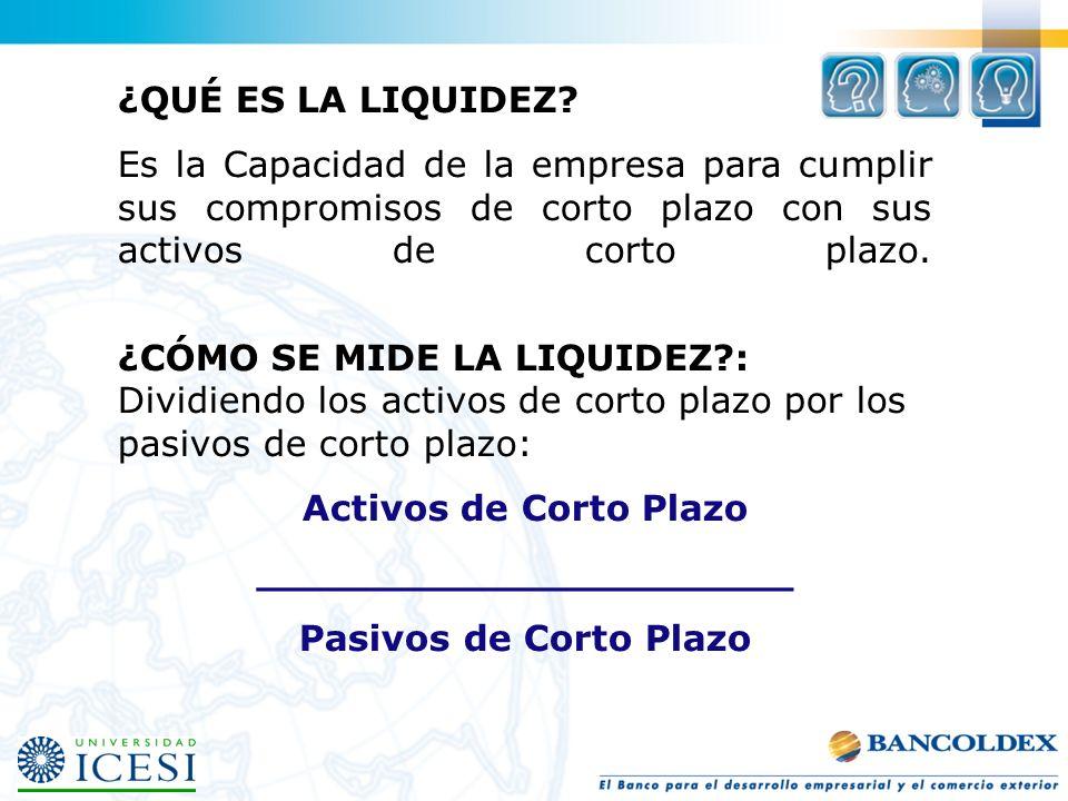 Ejemplos de liquidez: Activos Circulantes Caja$ 100 Cta.