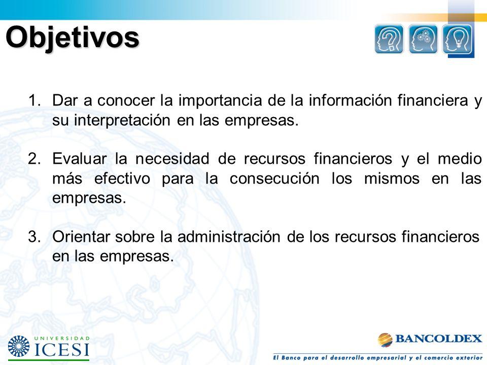 Objetivos 1.Dar a conocer la importancia de la información financiera y su interpretación en las empresas. 2.Evaluar la necesidad de recursos financie