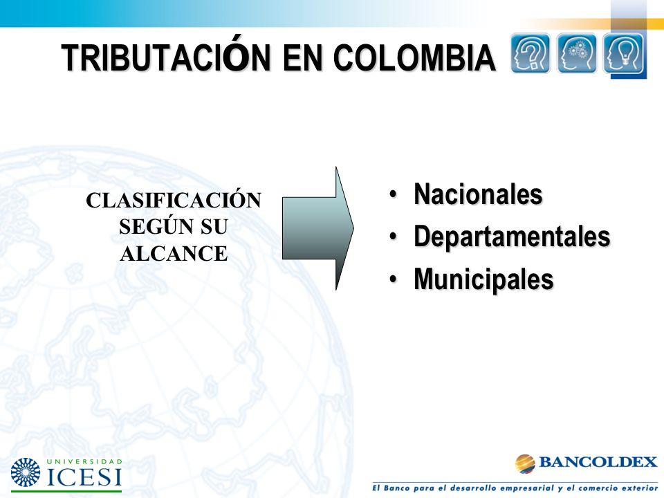 TRIBUTACI Ó N EN COLOMBIA Nacionales Nacionales Departamentales Departamentales Municipales Municipales CLASIFICACIÓN SEGÚN SU ALCANCE