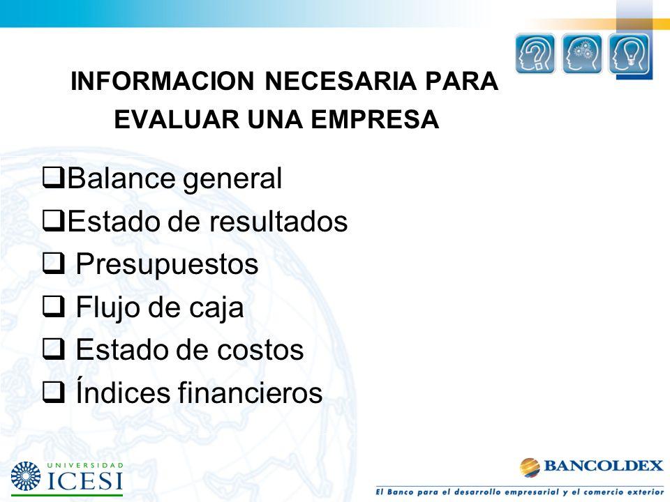 INFORMACION NECESARIA PARA EVALUAR UNA EMPRESA Balance general Estado de resultados Presupuestos Flujo de caja Estado de costos Índices financieros