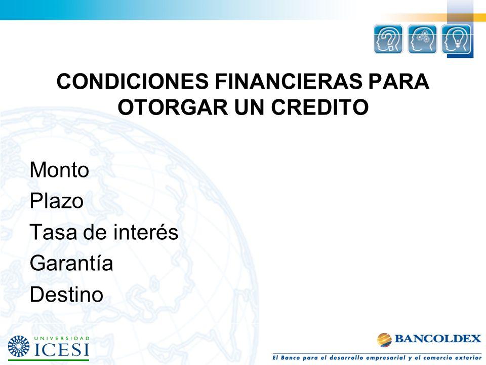 CONDICIONES FINANCIERAS PARA OTORGAR UN CREDITO Monto Plazo Tasa de interés Garantía Destino