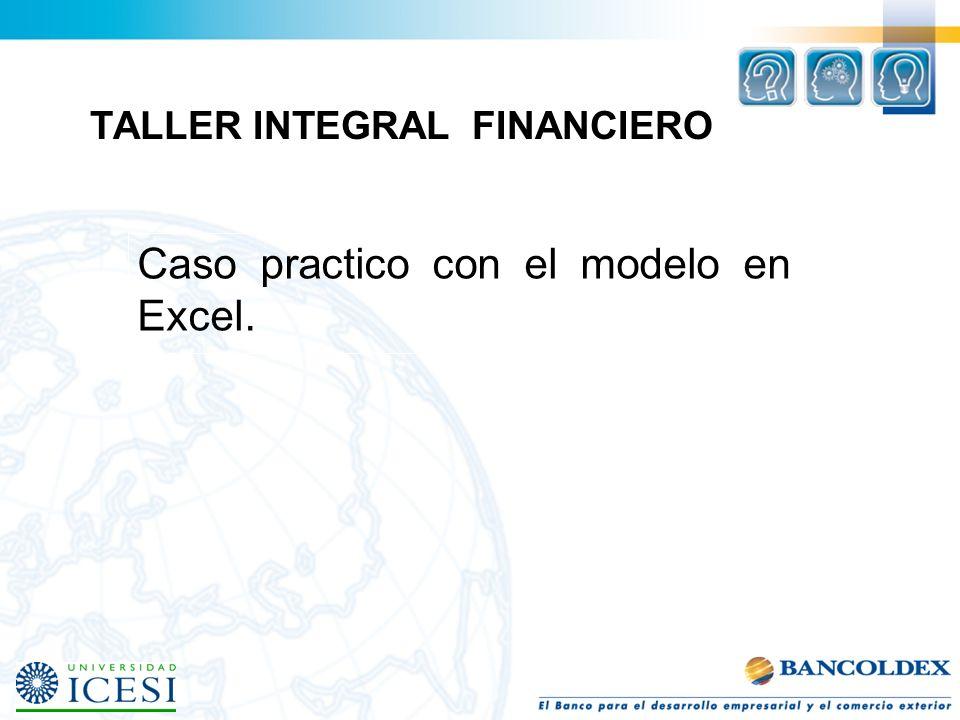 TALLER INTEGRAL FINANCIERO Caso practico con el modelo en Excel.