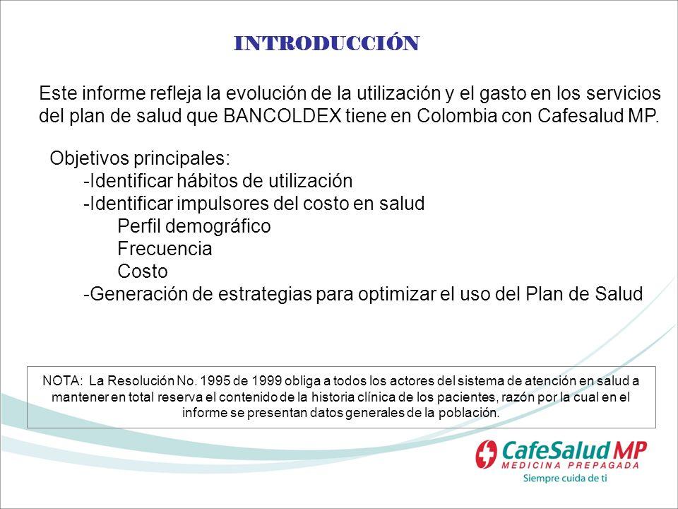 INTRODUCCIÓN Este informe refleja la evolución de la utilización y el gasto en los servicios del plan de salud que BANCOLDEX tiene en Colombia con Caf