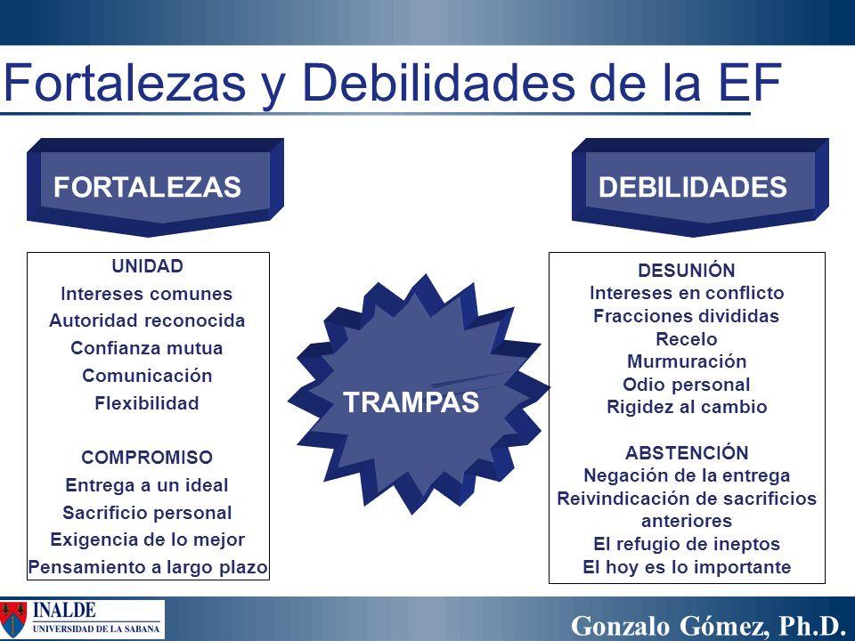 Gonzalo Gómez, Ph.D. Fortalezas y Debilidades de la EF TRAMPAS FORTALEZASDEBILIDADES UNIDAD Intereses comunes Autoridad reconocida Confianza mutua Com