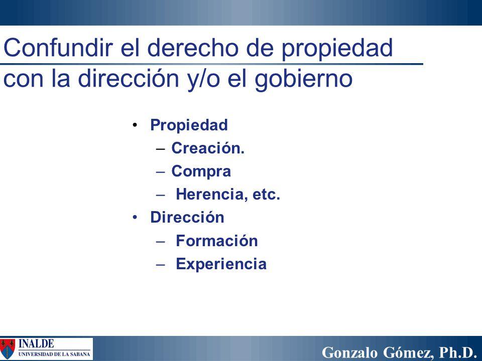 Gonzalo Gómez, Ph.D. Propiedad –Creación. –Compra – Herencia, etc. Dirección – Formación – Experiencia Confundir el derecho de propiedad con la direcc