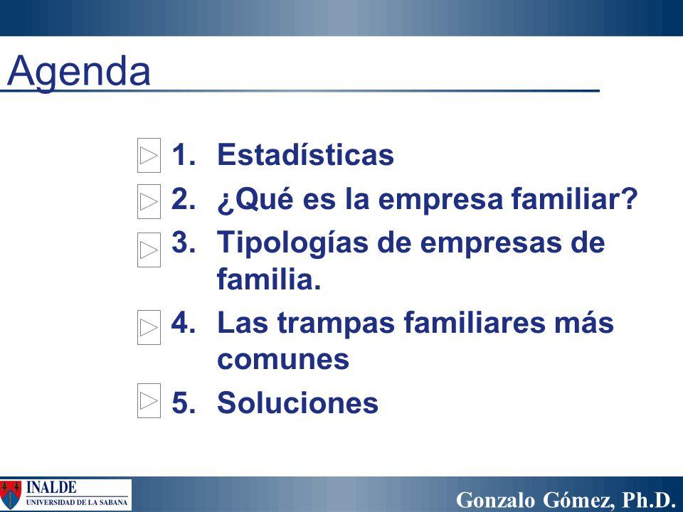 Gonzalo Gómez, Ph.D. Agenda 1.Estadísticas 2.¿Qué es la empresa familiar? 3.Tipologías de empresas de familia. 4.Las trampas familiares más comunes 5.