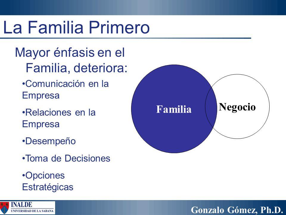 Gonzalo Gómez, Ph.D. Familia Negocio Comunicación en la Empresa Relaciones en la Empresa Desempeño Toma de Decisiones Opciones Estratégicas La Familia