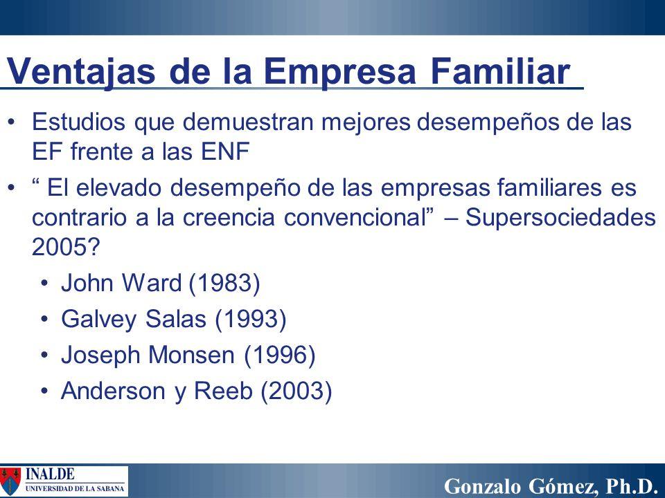 Gonzalo Gómez, Ph.D. Ventajas de la Empresa Familiar Estudios que demuestran mejores desempeños de las EF frente a las ENF El elevado desempeño de las
