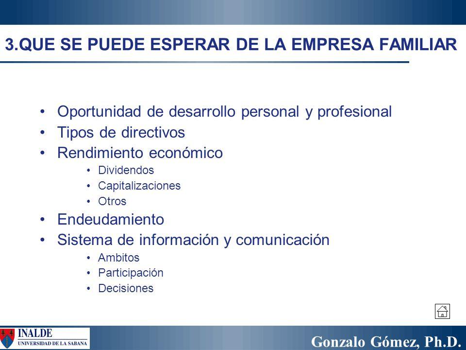 Gonzalo Gómez, Ph.D. 3.QUE SE PUEDE ESPERAR DE LA EMPRESA FAMILIAR Oportunidad de desarrollo personal y profesional Tipos de directivos Rendimiento ec