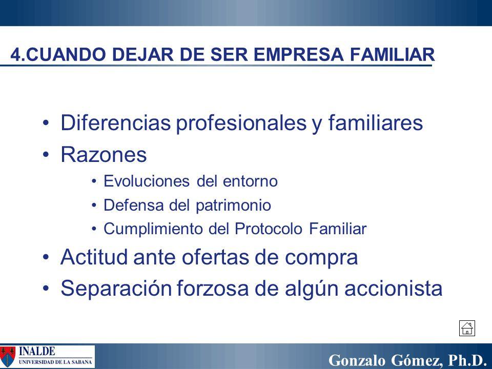 Gonzalo Gómez, Ph.D. 4.CUANDO DEJAR DE SER EMPRESA FAMILIAR Diferencias profesionales y familiares Razones Evoluciones del entorno Defensa del patrimo