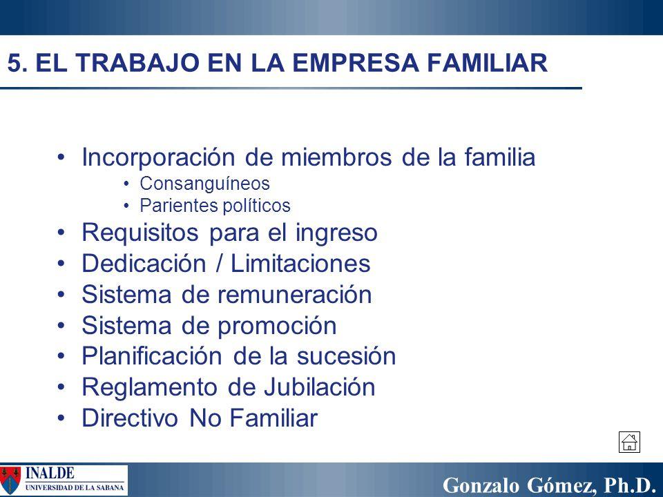 Gonzalo Gómez, Ph.D. 5. EL TRABAJO EN LA EMPRESA FAMILIAR Incorporación de miembros de la familia Consanguíneos Parientes políticos Requisitos para el