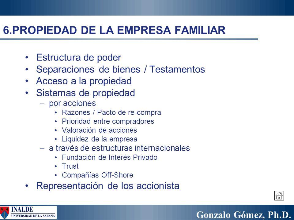 Gonzalo Gómez, Ph.D. 6.PROPIEDAD DE LA EMPRESA FAMILIAR Estructura de poder Separaciones de bienes / Testamentos Acceso a la propiedad Sistemas de pro