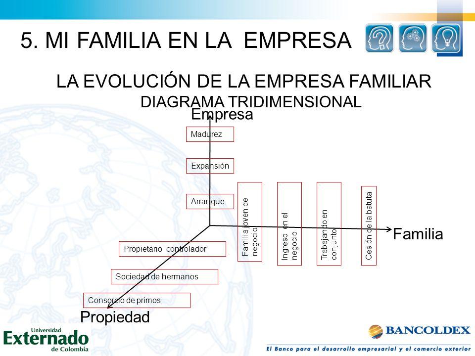 LA EVOLUCIÓN DE LA EMPRESA FAMILIAR DIAGRAMA TRIDIMENSIONAL Empresa Familia Propiedad Madurez Expansión Arranque Familia joven de negocio Ingreso en e