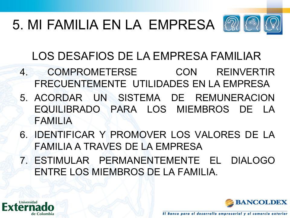 4. COMPROMETERSE CON REINVERTIR FRECUENTEMENTE UTILIDADES EN LA EMPRESA 5.ACORDAR UN SISTEMA DE REMUNERACION EQUILIBRADO PARA LOS MIEMBROS DE LA FAMIL