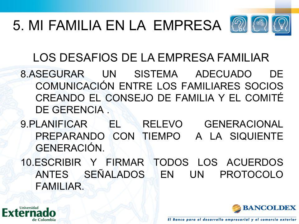 8.ASEGURAR UN SISTEMA ADECUADO DE COMUNICACIÓN ENTRE LOS FAMILIARES SOCIOS CREANDO EL CONSEJO DE FAMILIA Y EL COMITÉ DE GERENCIA. 9.PLANIFICAR EL RELE