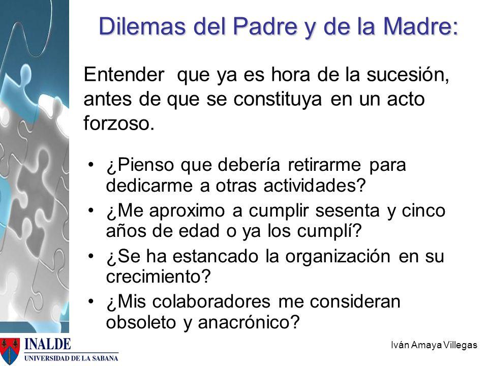 Iván Amaya Villegas Dilemas del Padre y de la Madre: Entender que ya es hora de la sucesión, antes de que se constituya en un acto forzoso. ¿Pienso qu