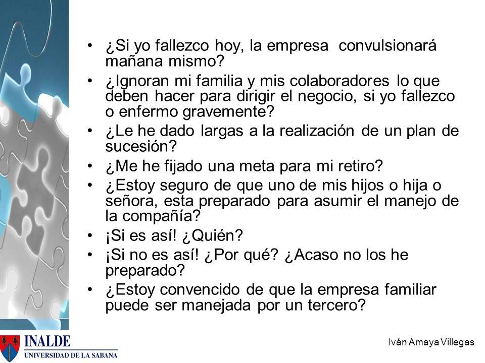 Iván Amaya Villegas ¿Si yo fallezco hoy, la empresa convulsionará mañana mismo? ¿Ignoran mi familia y mis colaboradores lo que deben hacer para dirigi