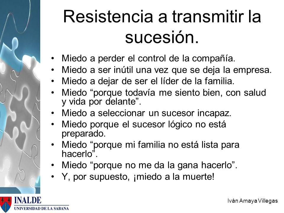Iván Amaya Villegas Resistencia a transmitir la sucesión. Miedo a perder el control de la compañía. Miedo a ser inútil una vez que se deja la empresa.
