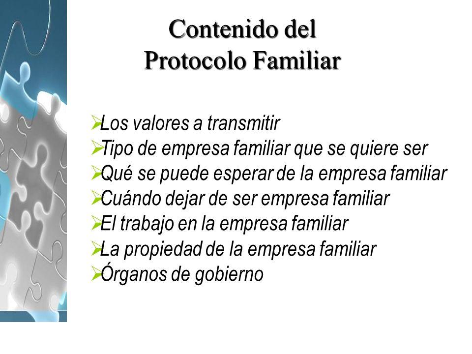 Contenido del Protocolo Familiar Los valores a transmitir Tipo de empresa familiar que se quiere ser Qué se puede esperar de la empresa familiar Cuánd