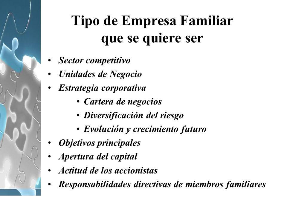 Tipo de Empresa Familiar que se quiere ser Sector competitivo Unidades de Negocio Estrategia corporativa Cartera de negocios Diversificación del riesg