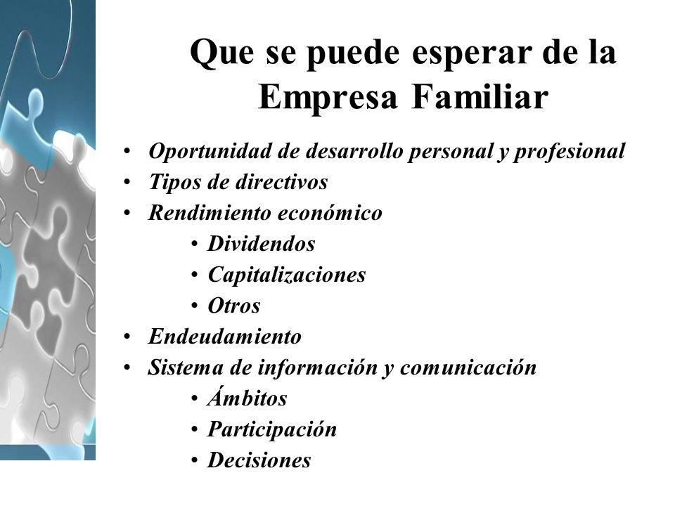 Que se puede esperar de la Empresa Familiar Oportunidad de desarrollo personal y profesional Tipos de directivos Rendimiento económico Dividendos Capi