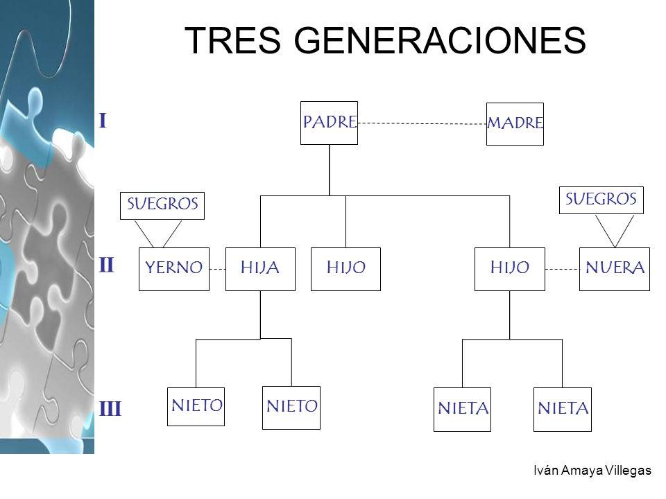 Iván Amaya Villegas TRES GENERACIONES PADRE MADRE HIJOHIJAYERNOHIJONUERA NIETO NIETA SUEGROS I II III