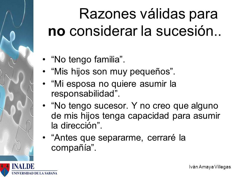 Iván Amaya Villegas Razones válidas para no considerar la sucesión.. No tengo familia. Mis hijos son muy pequeños. Mi esposa no quiere asumir la respo