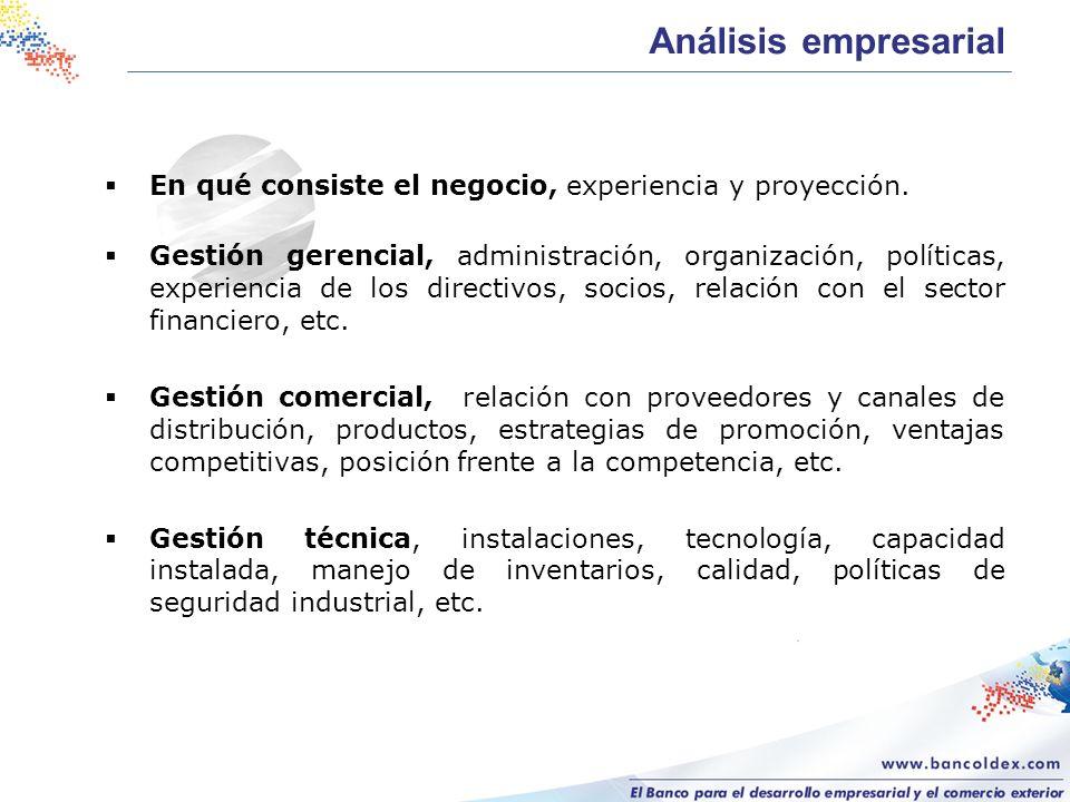 En qué consiste el negocio, experiencia y proyección. Gestión gerencial, administración, organización, políticas, experiencia de los directivos, socio