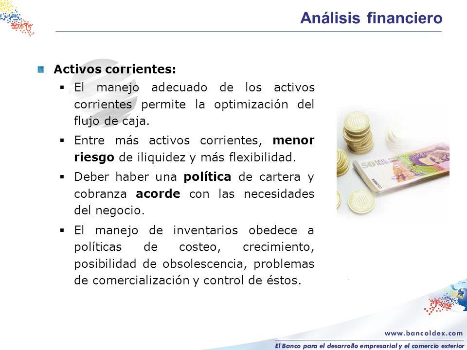 Análisis financiero Activos corrientes: El manejo adecuado de los activos corrientes permite la optimización del flujo de caja. Entre más activos corr