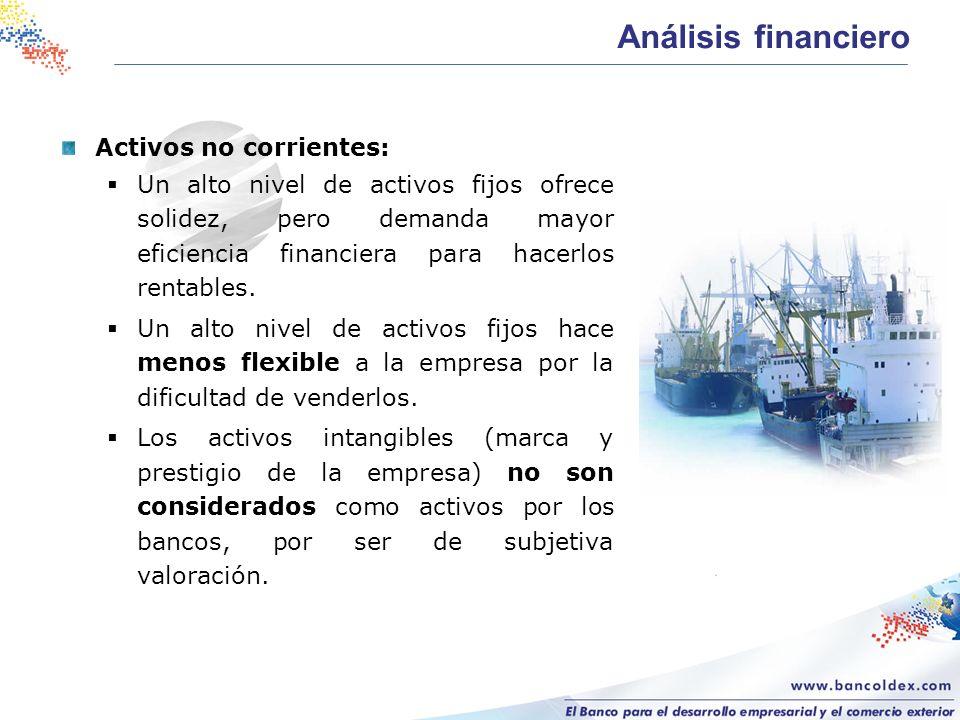 Activos no corrientes: Un alto nivel de activos fijos ofrece solidez, pero demanda mayor eficiencia financiera para hacerlos rentables. Un alto nivel