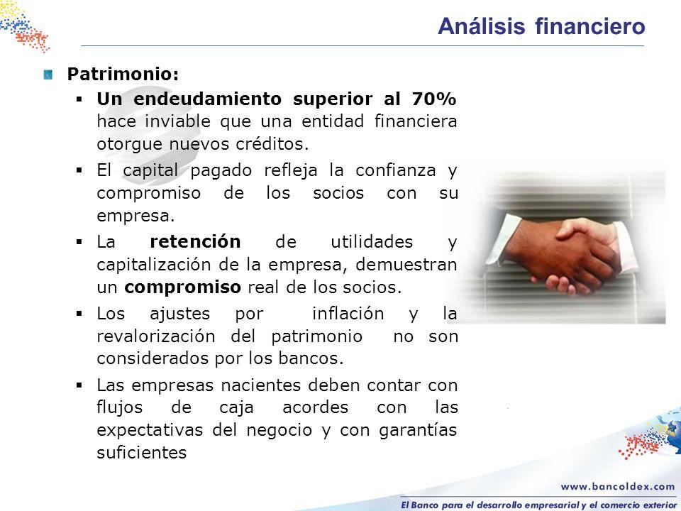 Patrimonio: Un endeudamiento superior al 70% hace inviable que una entidad financiera otorgue nuevos créditos. El capital pagado refleja la confianza