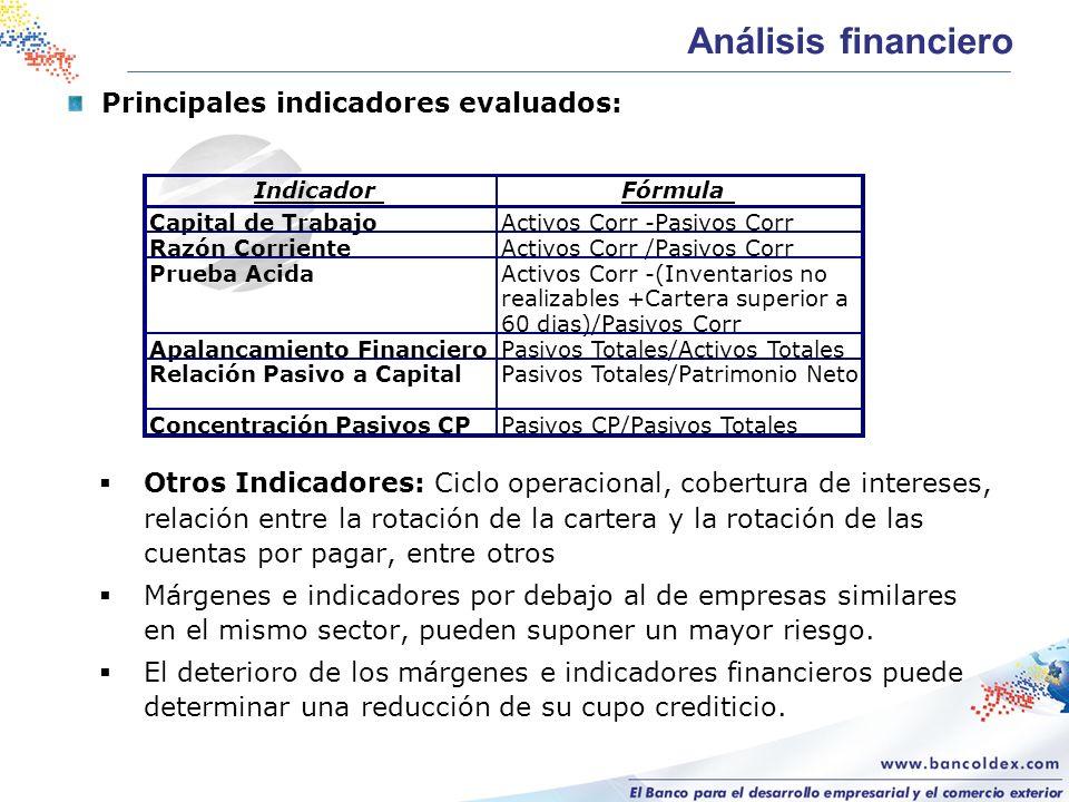 Principales indicadores evaluados: Otros Indicadores: Ciclo operacional, cobertura de intereses, relación entre la rotación de la cartera y la rotació