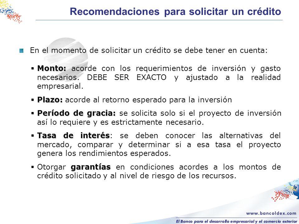 En el momento de solicitar un crédito se debe tener en cuenta: Monto: Monto: acorde con los requerimientos de inversión y gasto necesarios.