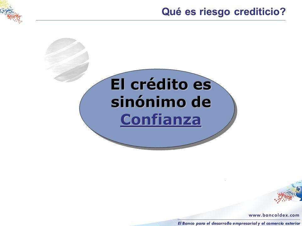 El crédito es sinónimo de Confianza Qué es riesgo crediticio?