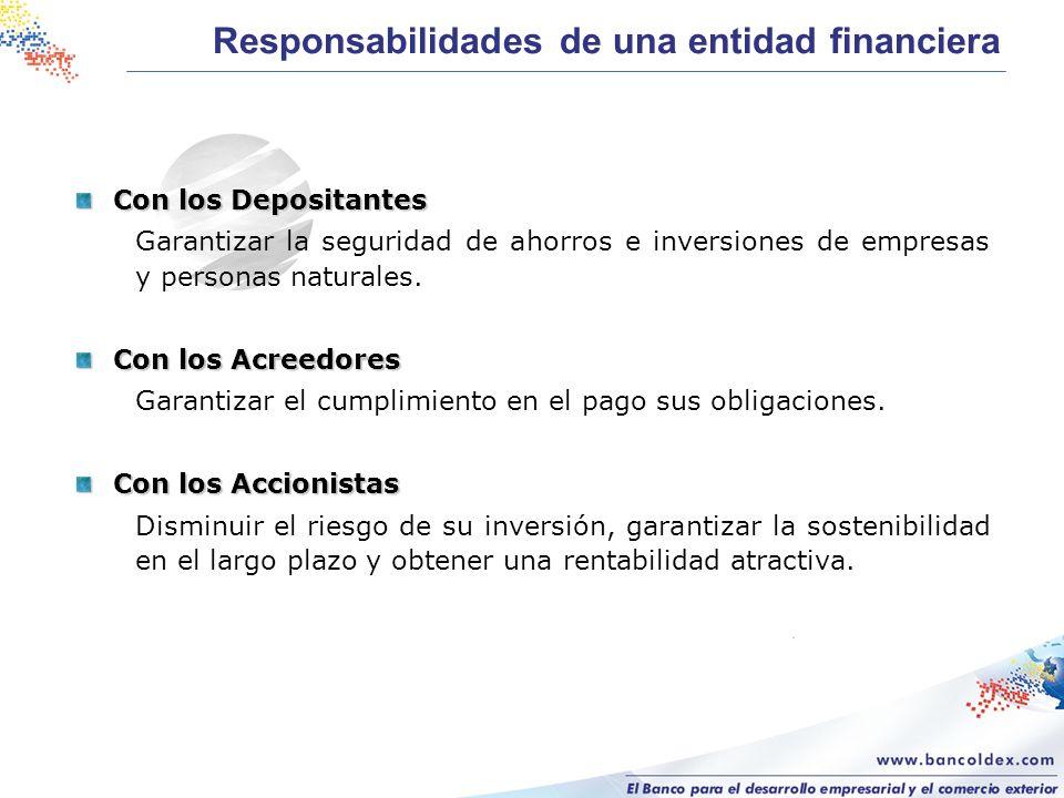 Con los Depositantes Garantizar la seguridad de ahorros e inversiones de empresas y personas naturales. Con los Acreedores Garantizar el cumplimiento
