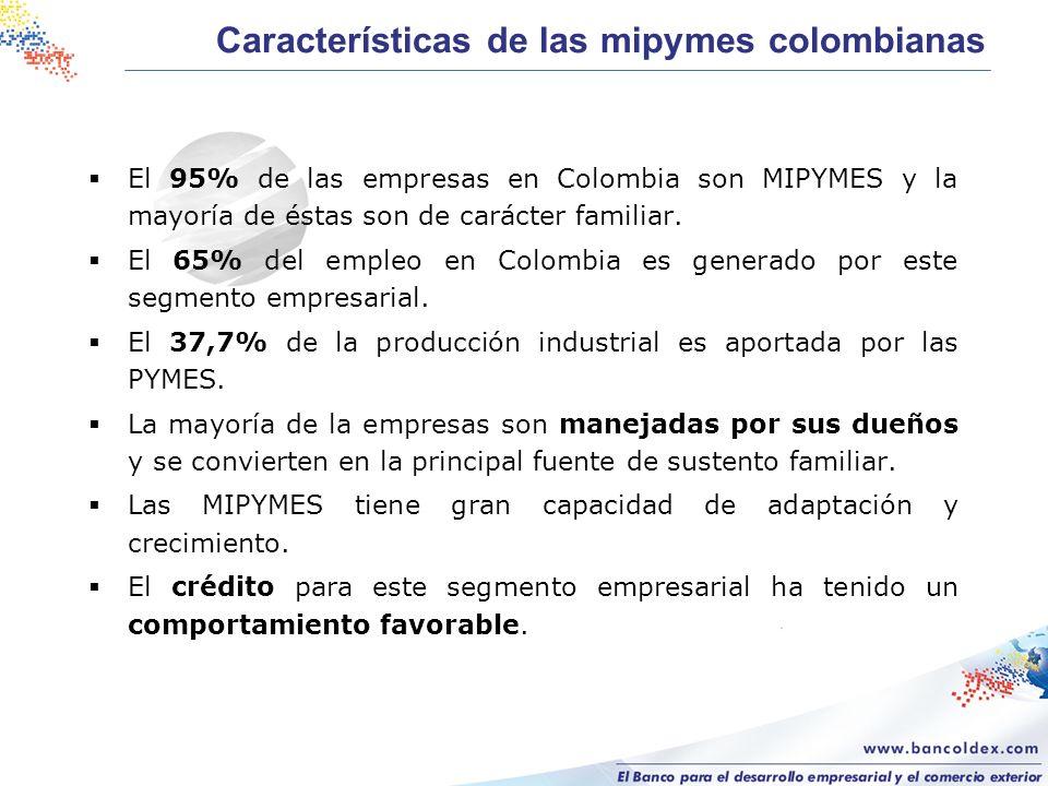 Características de las mipymes colombianas El 95% de las empresas en Colombia son MIPYMES y la mayoría de éstas son de carácter familiar. El 65% del e