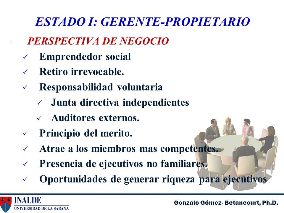 Gonzalo Gómez- Betancourt, Ph.D. ESTADO I: GERENTE-PROPIETARIO PERSPECTIVA DE NEGOCIO Emprendedor social Retiro irrevocable. Responsabilidad voluntari
