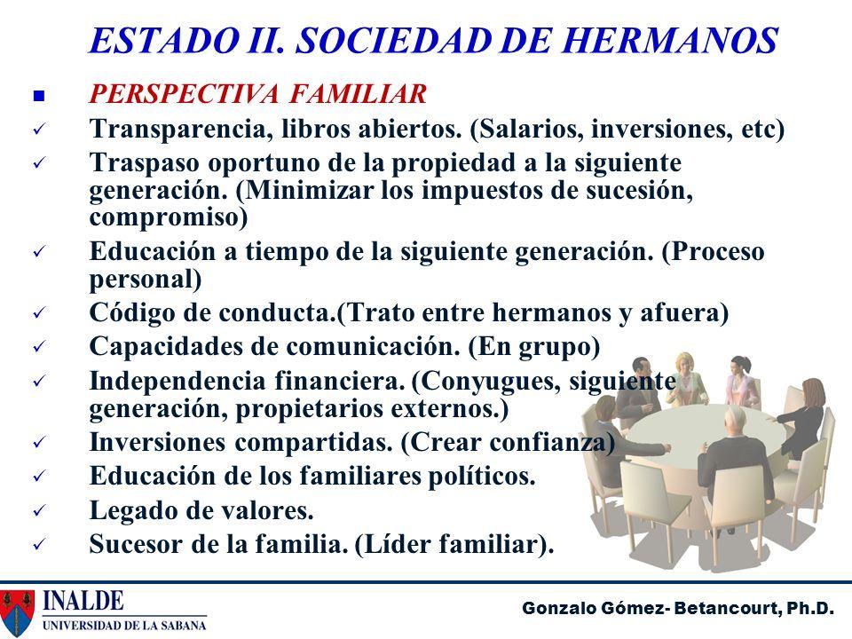 Gonzalo Gómez- Betancourt, Ph.D. ESTADO II. SOCIEDAD DE HERMANOS PERSPECTIVA FAMILIAR Transparencia, libros abiertos. (Salarios, inversiones, etc) Tra