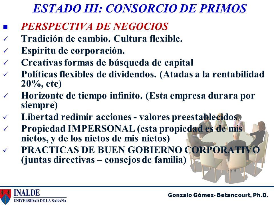 Gonzalo Gómez- Betancourt, Ph.D. ESTADO III: CONSORCIO DE PRIMOS PERSPECTIVA DE NEGOCIOS Tradición de cambio. Cultura flexible. Espíritu de corporació