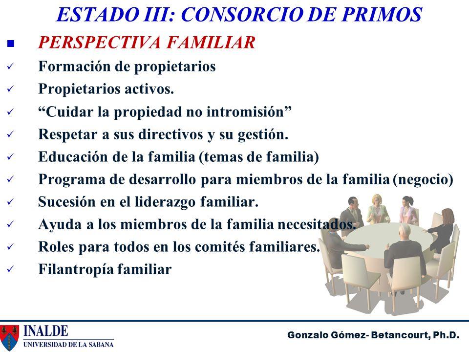 Gonzalo Gómez- Betancourt, Ph.D. ESTADO III: CONSORCIO DE PRIMOS PERSPECTIVA FAMILIAR Formación de propietarios Propietarios activos. Cuidar la propie