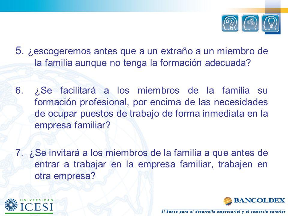 Protocolo familiar 1.¿Se quiere que en la empresa familiar puedan trabajar todos los miembros de la familia que lo deseen? 2.¿Tendrán preferencia los